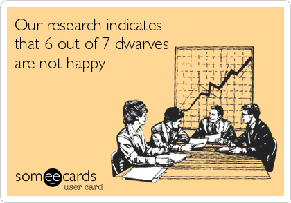 Our research indicates that 6 out of 7 dwarves are not happy