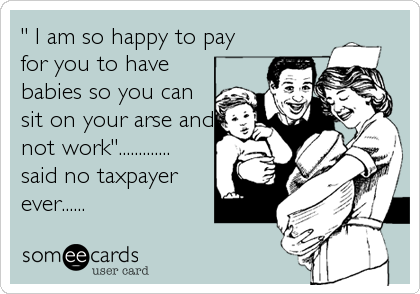 """ I am so happy to pay for you to have babies so you can sit on your arse and not work""............. said no taxpayer ever......"