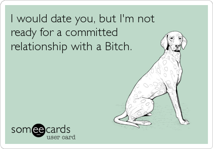 I would date you, but I'm not ready for a committed relationship with a Bitch.