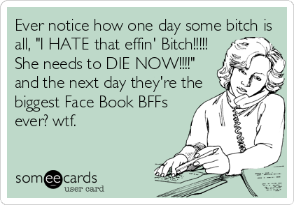 """Ever notice how one day some bitch is all, """"I HATE that effin' Bitch!!!!! She needs to DIE NOW!!!!"""" and the next day they're the biggest Face Book BFFs ever? wtf."""