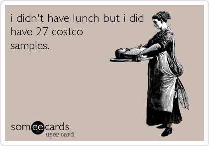 i didn't have lunch but i did have 27 costco samples.