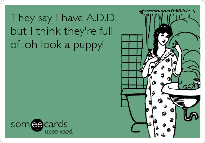 They say I have A.D.D. but I think they're full of...oh look a puppy!