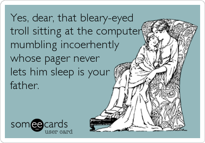 Yes, dear, that bleary-eyed troll sitting at the computer mumbling incoerhently whose pager never lets him sleep is your father.