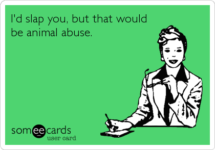 I'd slap you, but that would be animal abuse.