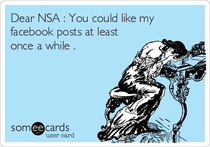 Dear NSA : You could like my facebook posts at least once a while .