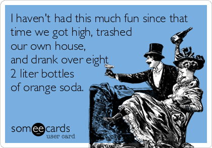 I haven't had this much fun since that time we got high, trashed our own house, and drank over eight 2 liter bottles of orange soda.