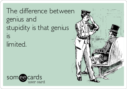 The difference between genius and stupidity is that genius is limited.