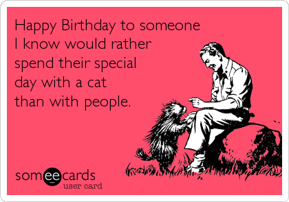 Happy Birthday to someone I know would rather spend their special day with a cat than with people.