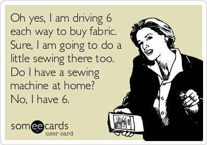 Oh yes, I am driving 6 each way to buy fabric.  Sure, I am going to do a little sewing there too. Do I have a sewing machine at home?  No, I have 6.