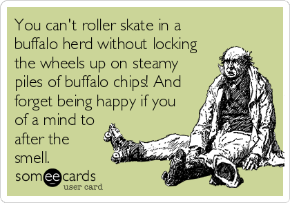 You can't roller skate in a buffalo herd without locking the wheels up on steamy piles of buffalo chips! And forget being happy if you of a mind to after the  smell.