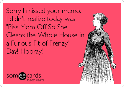 """Sorry I missed your memo. I didn't realize today was """"Piss Mom Off So She Cleans the Whole House in a Furious Fit of Frenzy"""" Day! Hooray!"""