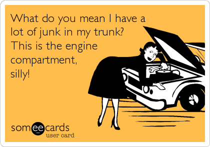 What do you mean I have a lot of junk in my trunk? This is the engine compartment, silly!