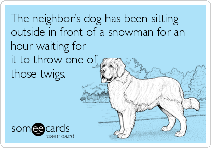 The neighbor's dog has been sitting outside in front of a snowman for an hour waiting for it to throw one of those twigs.