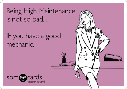 Being High Maintenance is not so bad...  IF you have a good mechanic.
