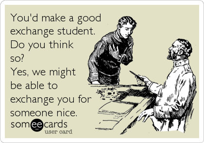 You'd make a good exchange student. Do you think so? Yes, we might be able to exchange you for someone nice.