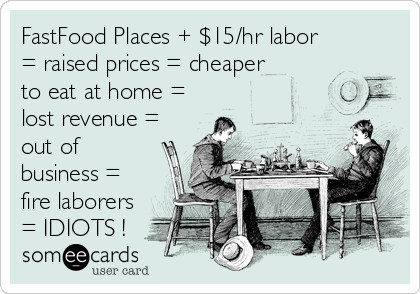 FastFood Places + $15/hr labor = raised prices = cheaper to eat at home = lost revenue = out of business = fire laborers = IDIOTS !