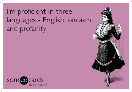 I'm proficient in three languages - English, sarcasm and profanity.