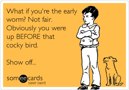 What if you're the early worm? Not fair. Obviously you were  up BEFORE that  cocky bird.  Show off...