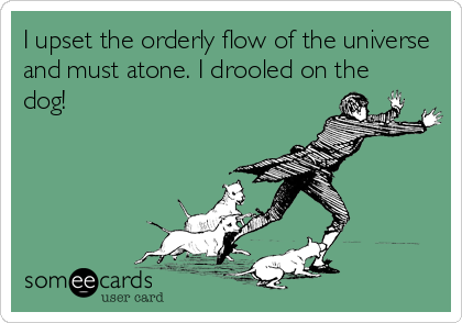 I upset the orderly flow of the universe and must atone. I drooled on the dog!