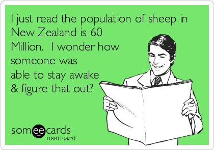 I just read the population of sheep in New Zealand is 60 Million.  I wonder how someone was able to stay awake & figure that out?