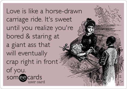 Love is like a horse-drawn carriage ride. It's sweet until you realize you're bored & staring at a giant ass that will eventually crap right in front of you.