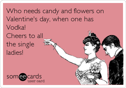 Who needs candy and flowers on Valentine's day, when one has  Vodka!  Cheers to all the single ladies!