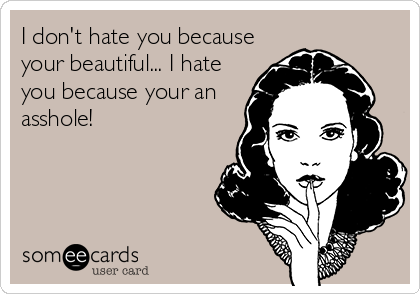 I don't hate you because your beautiful... I hate you because your an asshole!