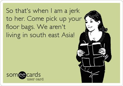 So that's when I am a jerk to her. Come pick up your floor bags. We aren't living in south east Asia!