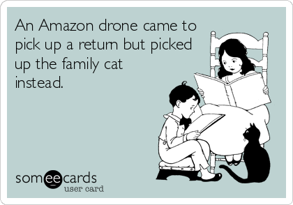 An Amazon drone came to  pick up a return but picked up the family cat instead.