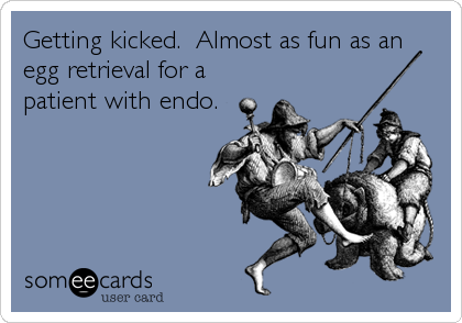 Getting kicked.  Almost as fun as an egg retrieval for a patient with endo.