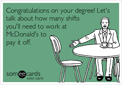 Congratulations on your degree! Let's talk about how many shifts you'll need to work at  McDonald's to pay it off.