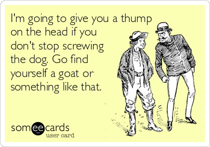 I'm going to give you a thump on the head if you don't stop screwing the dog. Go find yourself a goat or something like that.