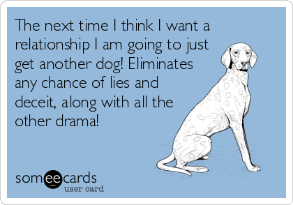 The next time I think I want a relationship I am going to just get another dog! Eliminates any chance of lies and deceit, along with all the other drama!