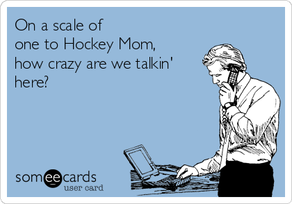 On a scale of   one to Hockey Mom,     how crazy are we talkin' here?