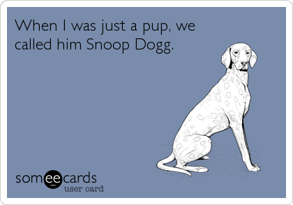 When I was just a pup, we  called him Snoop Dogg.
