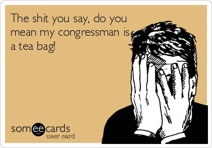 The shit you say, do you mean my congressman is a tea bag!