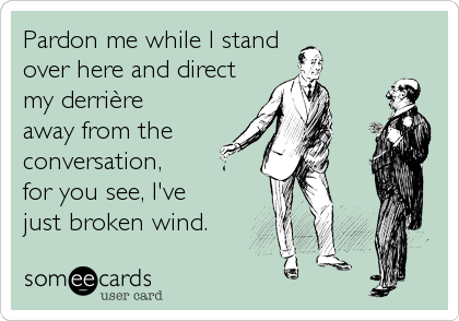 Pardon me while I stand  over here and direct my derrière  away from the  conversation,  for you see, I've  just broken wind.