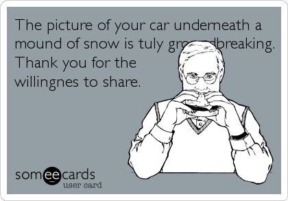 The picture of your car underneath a mound of snow is tuly groundbreaking. Thank you for the willingnes to share.