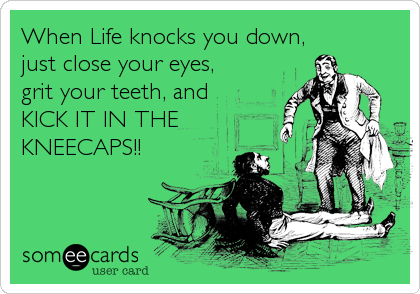 When Life knocks you down,  just close your eyes, grit your teeth, and  KICK IT IN THE KNEECAPS!!