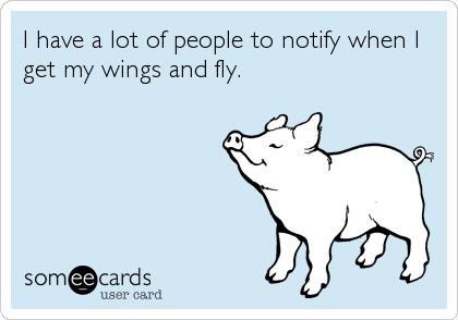 I have a lot of people to notify when I get my wings and fly.