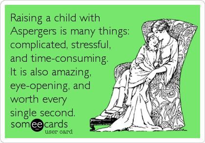 Raising a child with Aspergers is many things: complicated, stressful, and time-consuming. It is also amazing, eye-opening, and worth every%3