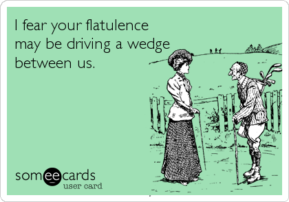 I fear your flatulence may be driving a wedge between us.