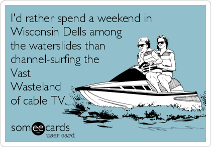 I'd rather spend a weekend in Wisconsin Dells among the waterslides than channel-surfing the Vast Wasteland of cable TV.