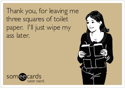 Thank you, for leaving me three squares of toilet paper.  I'll just wipe my ass later.