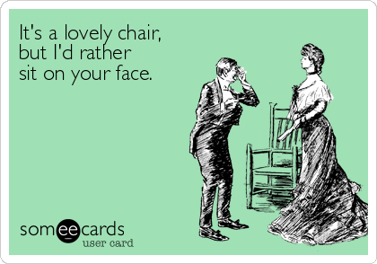 It's a lovely chair,  but I'd rather  sit on your face.
