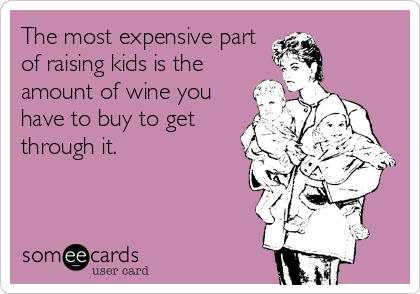 The most expensive part of raising kids is the amount of wine you have to buy to get through it.