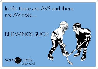 In life, there are AVS and there are AV nots......   REDWINGS SUCK!