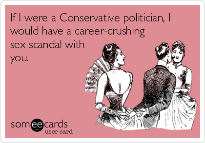 If I were a Conservative politician, I would have a career-crushing sex scandal with you.