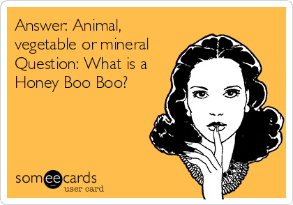 Answer: Animal, vegetable or mineral  Question: What is a Honey Boo Boo?