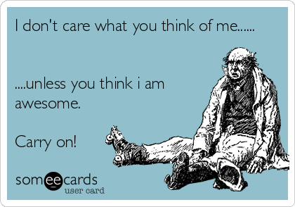 I don't care what you think of me......   ....unless you think i am awesome.  Carry on!